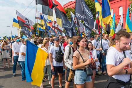 KIEV, UKRAINE - AUGUST 24, 2020: March of defenders, parade in Kyiv, dedicated to the Independence Day of Ukraine, 29th anniversary. 版權商用圖片 - 155239872