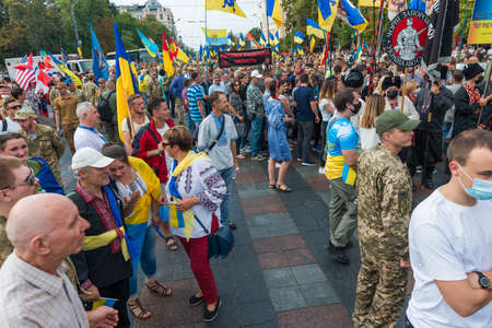 KIEV, UKRAINE - AUGUST 24, 2020: March of defenders, parade in Kyiv, dedicated to the Independence Day of Ukraine, 29th anniversary. 版權商用圖片 - 155239877