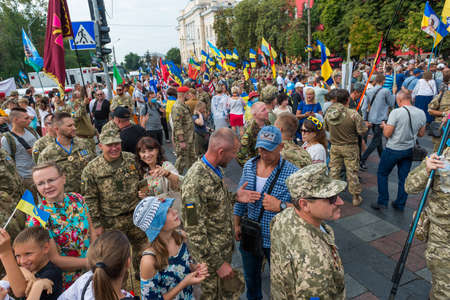 KIEV, UKRAINE - AUGUST 24, 2020: March of defenders, parade in Kyiv, dedicated to the Independence Day of Ukraine, 29th anniversary. 版權商用圖片 - 155239850