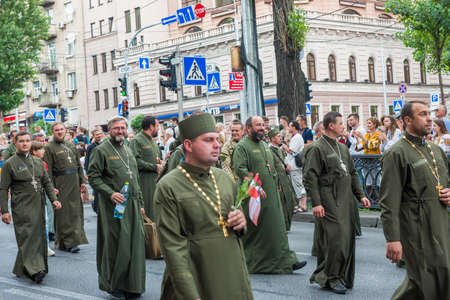 KIEV, UKRAINE - AUGUST 24, 2020: Military priests on March of defenders, parade in Kyiv, dedicated to the Independence Day of Ukraine, 29th anniversary.