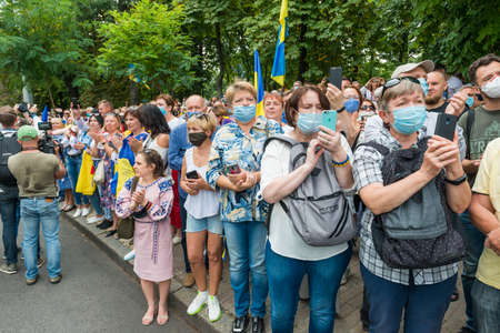 KIEV, UKRAINE - AUGUST 24, 2020: Spectators on March of defenders, parade in Kyiv, dedicated to the Independence Day of Ukraine, 29th anniversary.