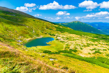 Blue lake landscape in mountains with blue water