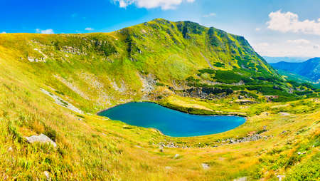 Blue lake panorama landscape in mountains with blue water. High resolution panorama Stockfoto