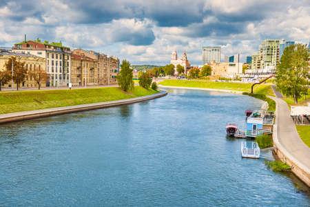Beautiful river in european city. Neris river, Vilnius, Lithuania
