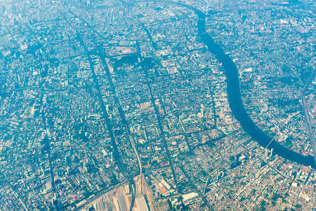 Aerial view to Bangkok downtown from a plane. Thailand asian city from above Reklamní fotografie