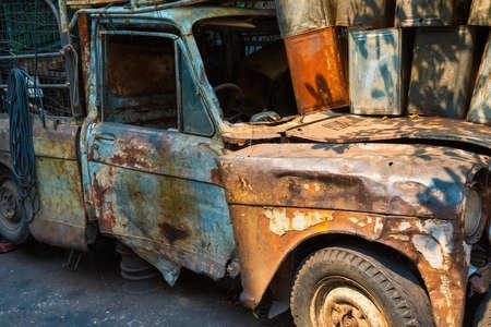 Old broken rusty car. Rust on metal of vintage automobile