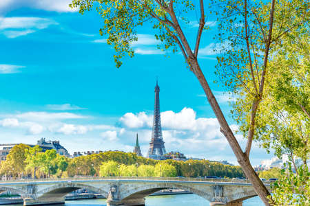 Eiffel tower and bridge on Seine in spring Paris, France