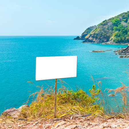 Sea coast landscape with empty blank wooden board for advertise