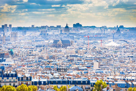 Panorama city of Paris from Montmartre. Beautiful travel cityscape