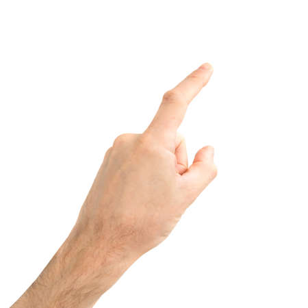 Female hand touching or pointing finger to something isolated on white background Banque d'images