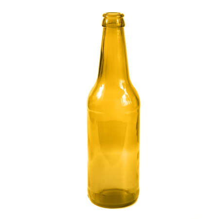 Empty open glass  brown beer wine bottle isolated on white background Banque d'images