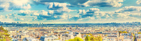 Panorama city of Paris from Montmartre. Beautiful travel Paris cityscape, high resolution