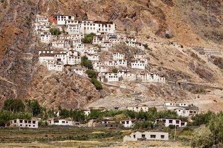 gompa: View of the Karsha Gompa Karsha Monastery in the Padum Valley Zanskar Jammu and Kashmir India. Stock Photo