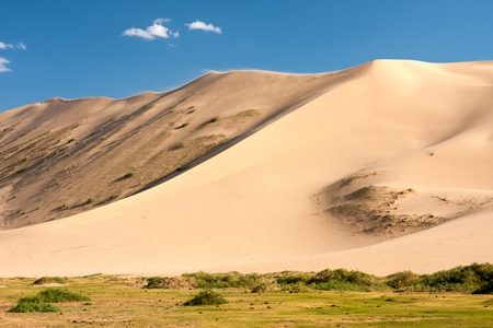 els: Meadows and sand dunes Khongoryn Els in Gobi Desert Umnugovi South Gobi Mongolia. Stock Photo