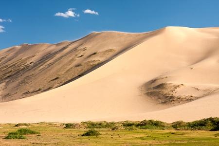 els: Meadows and sand dunes Khongoryn Els in Gobi Desert Umnugovi South Gobi Mongolia. Stock Photo