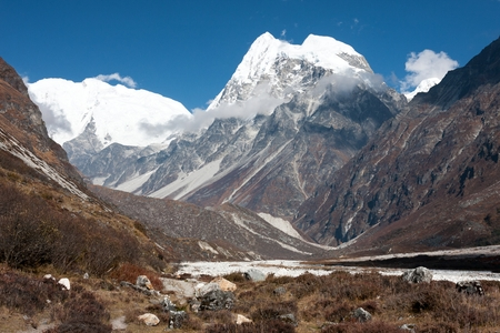 View of upper Langtang Valley with Mt. Shishapangma and Langshisa Peak, Langtang National Park, Rasuwa District, Bagmati, Nepal. Stock Photo