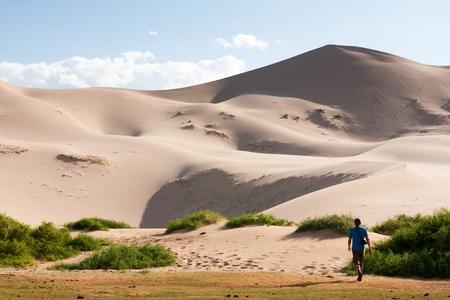 desertification: Sand dunes Khongoryn Els in Gobi Desert, Umnugovi, South Gobi, Mongolia.