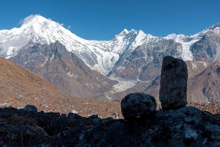 ganja: View of Langtang Valley with Mt. Langtang Lirung Langtang Peak, Mt. Kimshung and Langtang Lirung Glacier in the background from trekking route to Ganja La, Langtang National Park, Rasuwa District, Bagmati, Nepal.