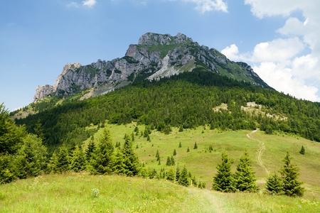 mala fatra: View of Mt. Velky Rozsutec from Meziholie pass, Mala Fatra, Western Carpathians, Slovakia. Stock Photo