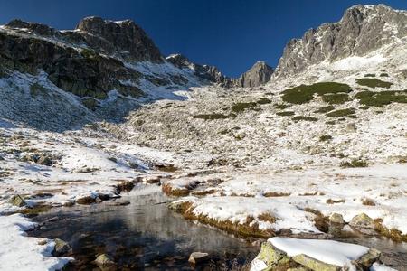 orla: Snow-draped valley in the High Tatras mountains, Dolina Piaciu Stawow Polskich, High Tatras, Poland. Stock Photo