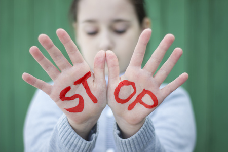 peace stamp: Gestures and the words stop, stop sign Stock Photo
