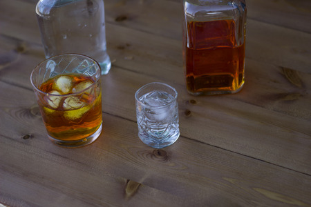 alcoholic: Alcoholic beverage close-up, wooden table