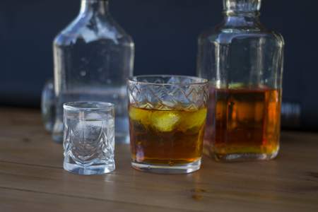 alcoholic beverage: Alcoholic beverage close-up, wooden table