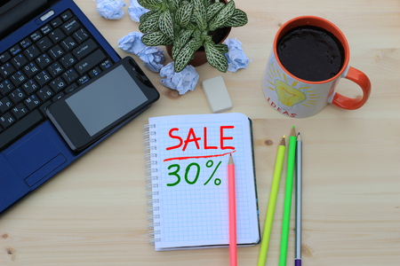 trade off: On the desktop, the inscription in notepad, sales and discounts