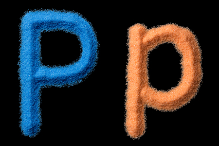 The letters P are made of crushed sand