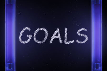 The word GOALS is manifested under the ultraviolet lamp in purple Banco de Imagens