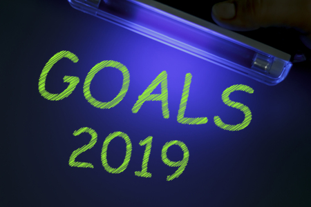 The word GOALS 2019 is manifested under the ultraviolet lamp in green
