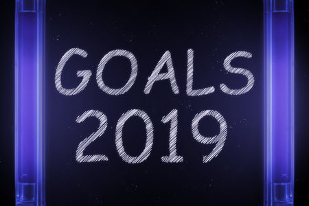 The word GOALS 2019 is manifested under the ultraviolet lamp in purple