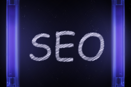 The word SEO is manifested under the ultraviolet lamp in purple