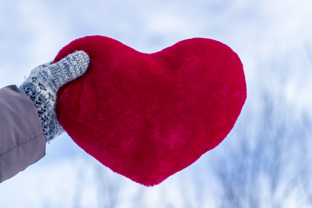 Woman holding a large heart with gloves on against the background of winter nature, close-up Stock Photo