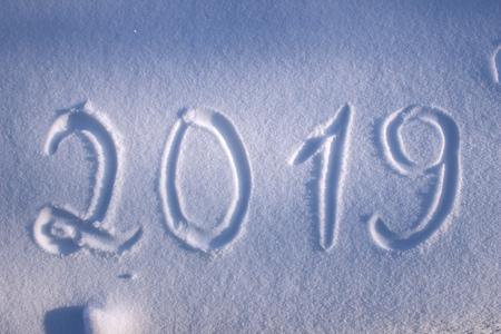 Inscription 2019 on the snow