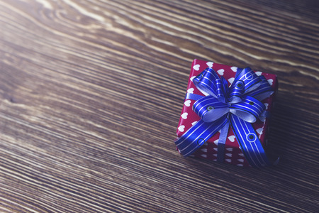 Gift box Packed in beautiful packaging with blue ribbon