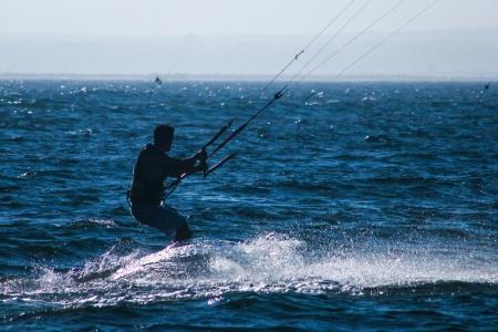 kiteboarder silhouette Banco de Imagens