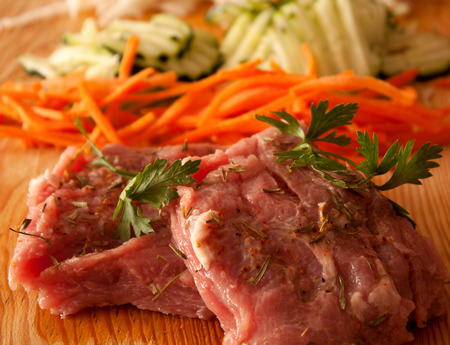 raw  marinated  Meat and vegetables