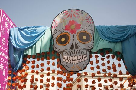 Decorated streets of Mexico at the party and celebration of Day of the Dead Stock Photo