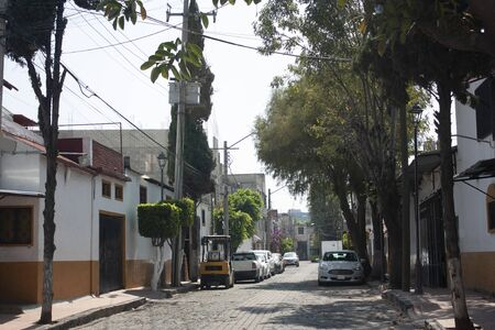 Cobblestone streets where citizens of Mexico City live in the neighborhood of the Assumption considered magical town for its picturesque rustic style of facades painted in two white and yellow colors adorned with trees and flowers Foto de archivo