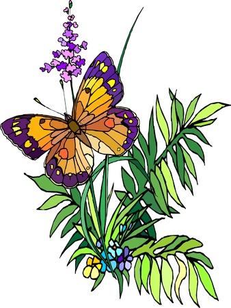 Hierba con flores y mariposas, ilustración, juego
