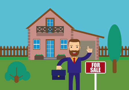 house for sale: Real estate agent holding the document for the for sale house. Vector flat design illustration.