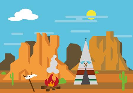 Vector illustration the Wild West, wigwam, bonfire, skull. Illustration