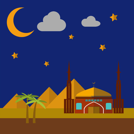 sand dunes: Vector flat illustration of Mosque on the sand dunes background Illustration
