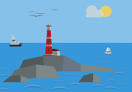 Rock In The Sea With Lighthouse Illustration