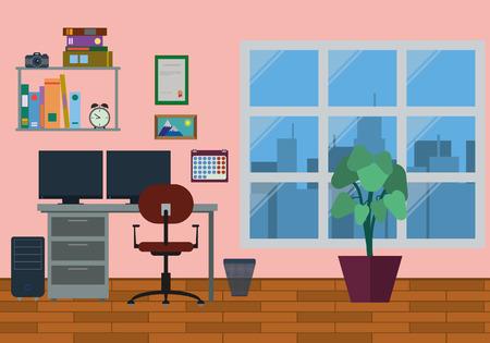 home office: Modern Home Office Interior Illustration