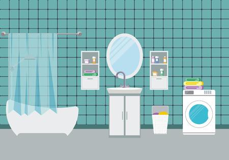 washbowl: Bathroom interior design, vector illustration. Modern bathroom background with washbowl.