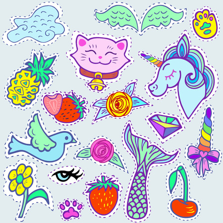 maneki neko: Fashion patch badges with blue unicorn, pink cat, Mermaids tail, cloud and other elements for girls