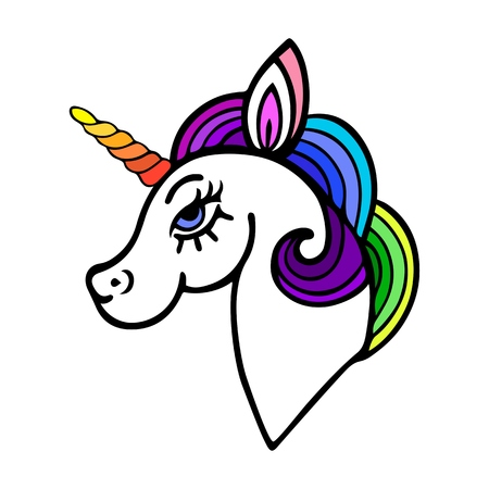 Cute unicorn with rainbow mane. Isolated on white background.