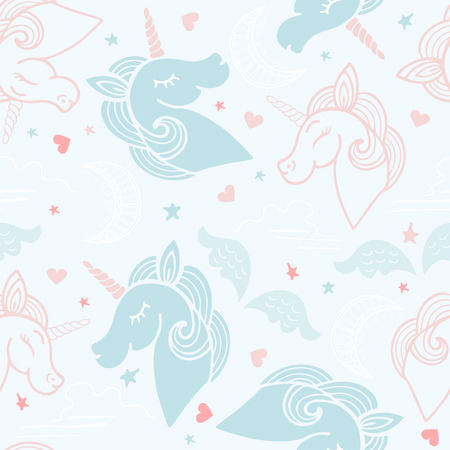 Seamless pink and blue pattern with cute unicorns, moons, hearts, wings and stars.
